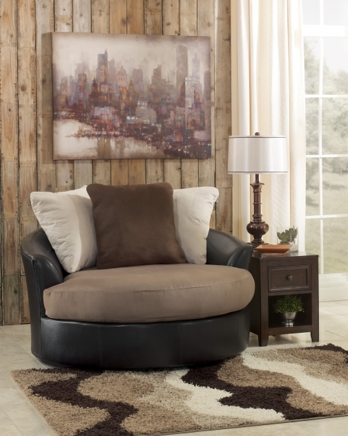 Fabulous Round Swivel Chair Masoli Mocha Faux Leather Fabric Oversized Swivel Accent Chair Photos 36