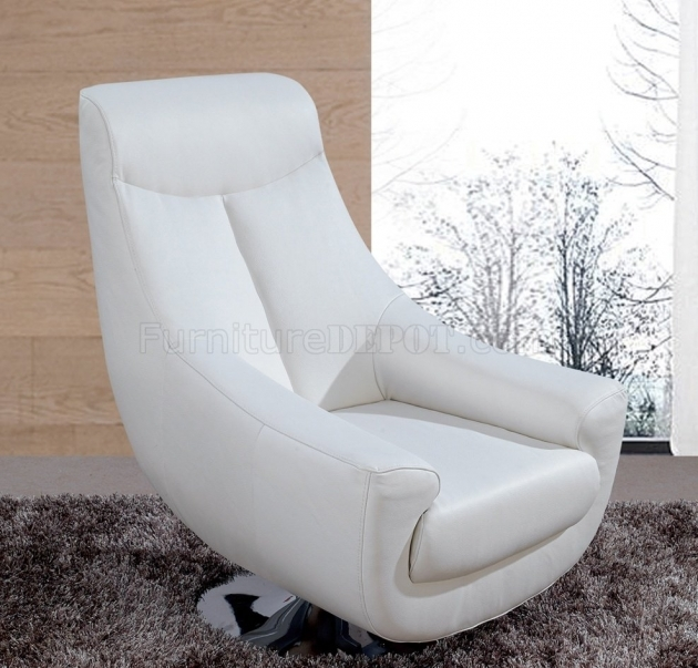 Lori White Leather Swivel Chair 75