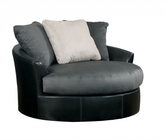 Oversized Swivel Chair Masoli Cobblestone Faux Leather Fabric Image 15