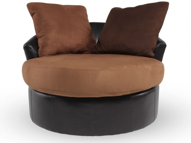 Swivel Chairs For Living Room Simple Chocolate Brown Round Swivel Loveseat With Brown Cushions Image 10
