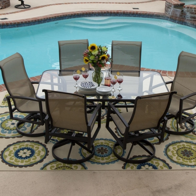 Acadia 7 Piece Sling Patio Outdoor Swivel Dining Chairs With Swivel Rockers Photo 44