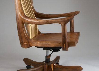 Wooden Swivel Desk Chair