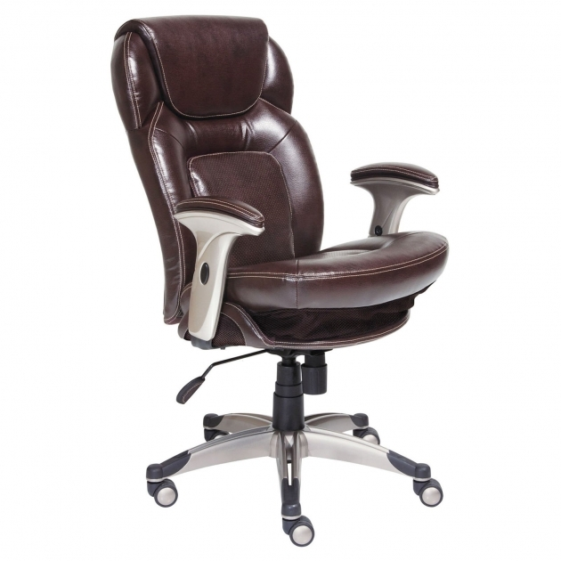 Best Leather Office Chair Brown Color Silver Nylon Base And Arms Adjustable Photos 92