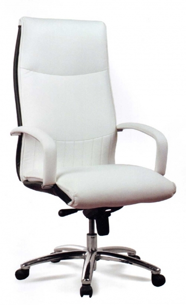 Best Leather Office Chair Upholstery White Color Chrome Base High Back Design Adjustable Height Photos 56