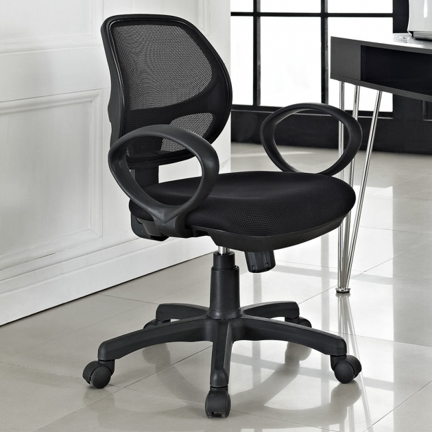 Black Fabric Plastic Mesh Ergonomic Office Chair Black Fabric Seat Image 08