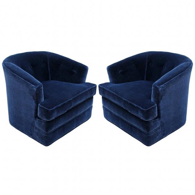 Blue Swivel Chair Mohair Velvet Picture 67