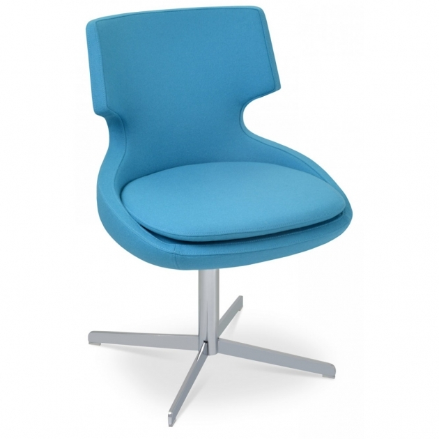 Blue Swivel Chair PATARA 4 Star Chrome Camira Sky Blue Pictures 48