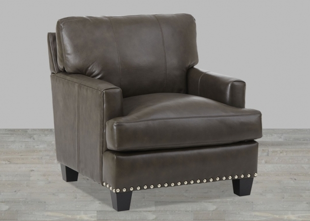 Gray Top Grain Leather Club Chair With Nailhead Trim Picture 17