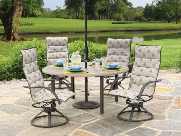 High Back Swivel Rocker Patio Chairs Furniture Set With Round Table Photo 87