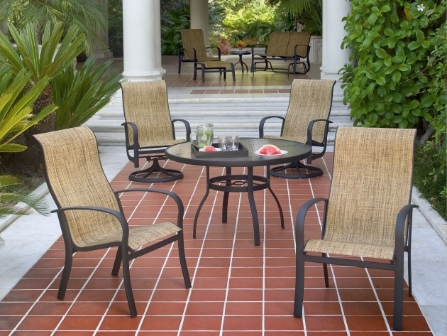 High Back Swivel Rocker Patio Chairs Woodard Fremont Sling Aluminum Picture 06