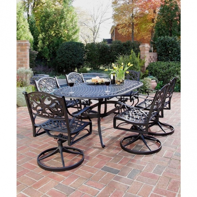 Home Styles Biscayne Black 7 Piece Patio Outdoor Swivel Dining Chairs Picture 36