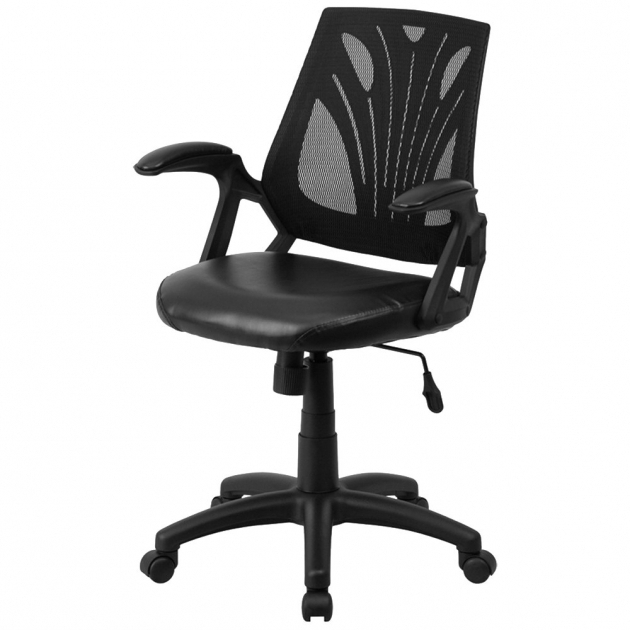 Mid Back Black Mesh Ergonomic Office Chair And Leather With Padded Picture 02