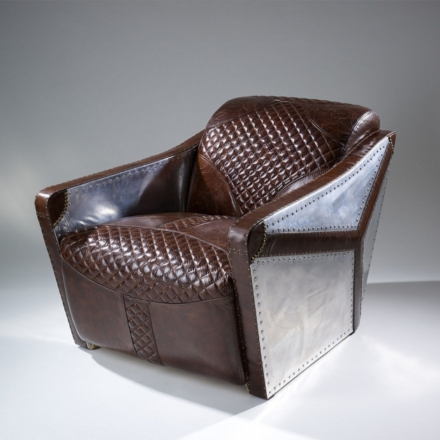 Modern Design Top Grain Leather Club Chair With Aluminum Sheath Images 19