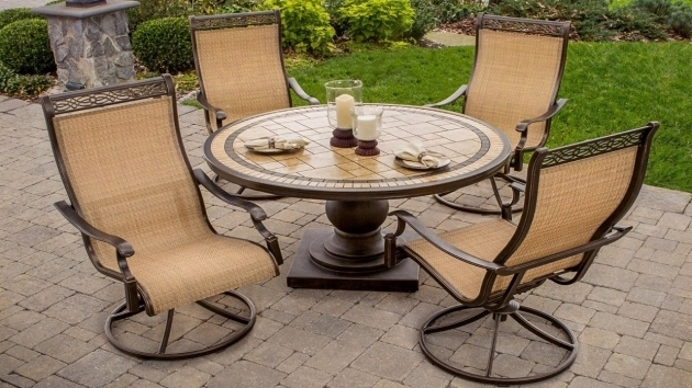 Outdoor High Back Swivel Rocker Patio Chairs Furniture 5 Piece Photos 92