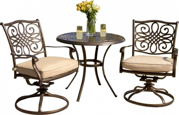 Outdoor Swivel Chairs Hanover Traditions 3 Piece Outdoor Bistro Set With Cushioned Swivel Rocker Chairs Images 13