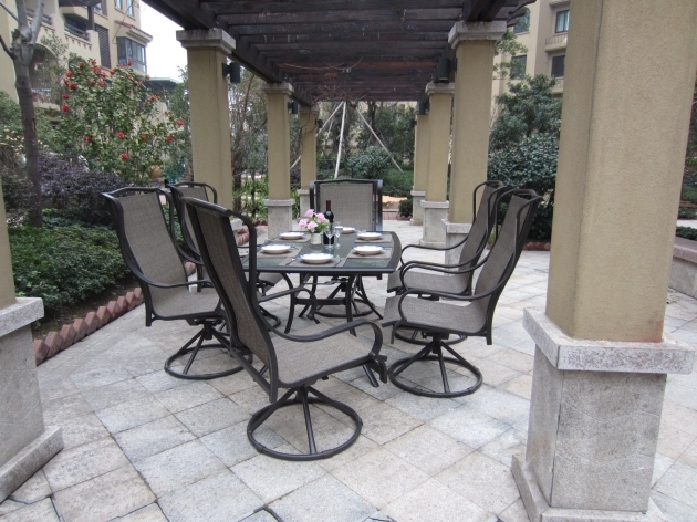 Outdoor Swivel Dining Chairs Furniture Sling 7pc Set Bronze Aluminum Steel Pictures 53