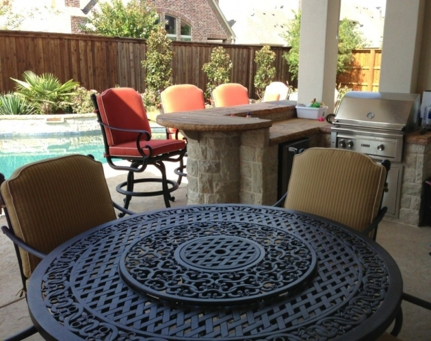 Outdoor Swivel Dining Chairs Ideas With Dining Table Fire Pit With Round Metal Patio Table And Red Cushion Image 90