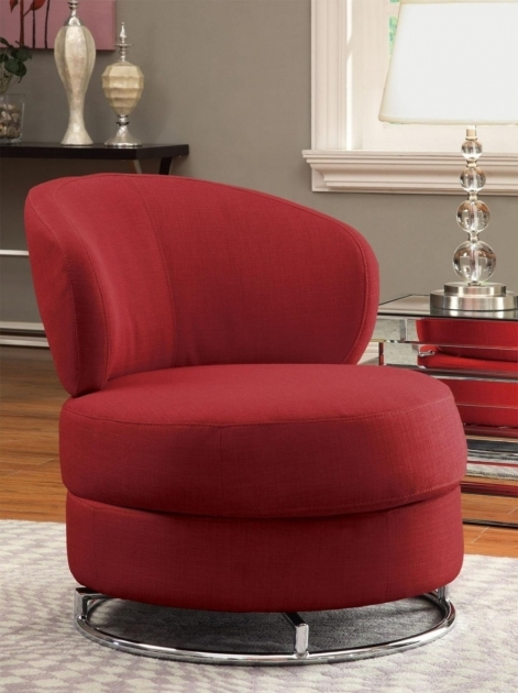 Red Crimson Colored Living Room Swivel Upholstered Chair With Silver Base Made From Metallic Material Images 16