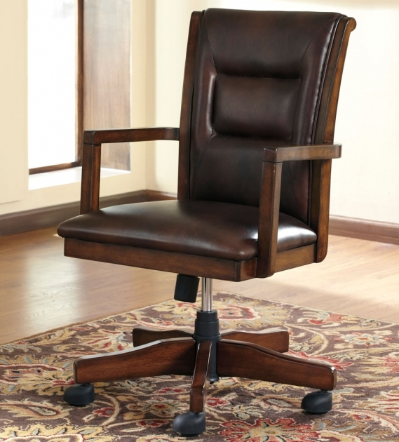 Solid Wooden Swivel Desk Chair With Casters And Padded Seat H619 Image 46