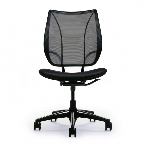 Stylish Black Armless Office Chairs With Wheels Mesh Back Material Leather Seat Upholstery Image 57