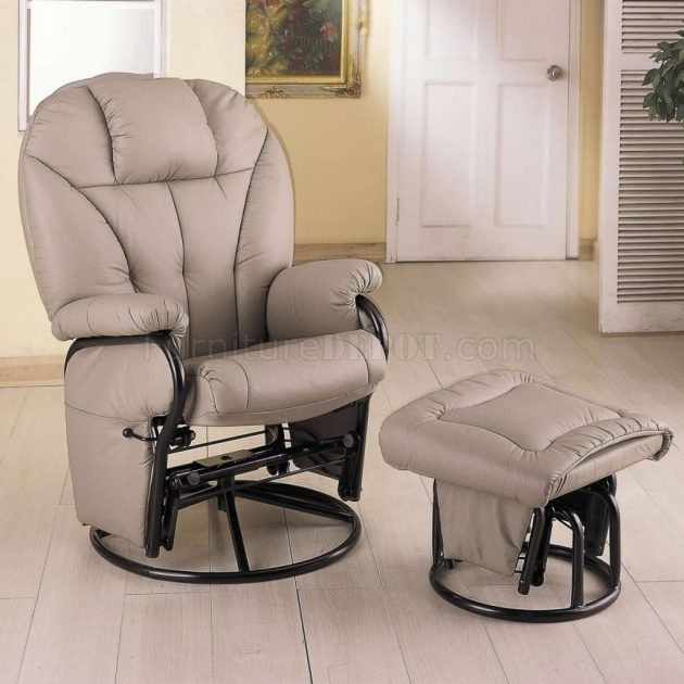Swivel Glider Chair With Ootoman Bone Leatherette Modern Ideas Images 46