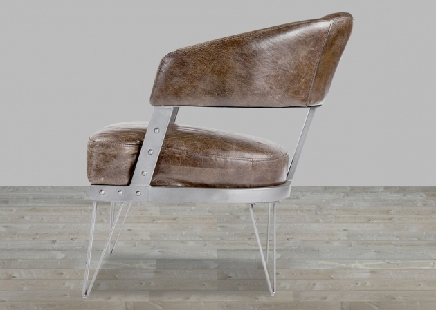 Vintage Top Grain Leather Club Chair With Metal Frame Image 00