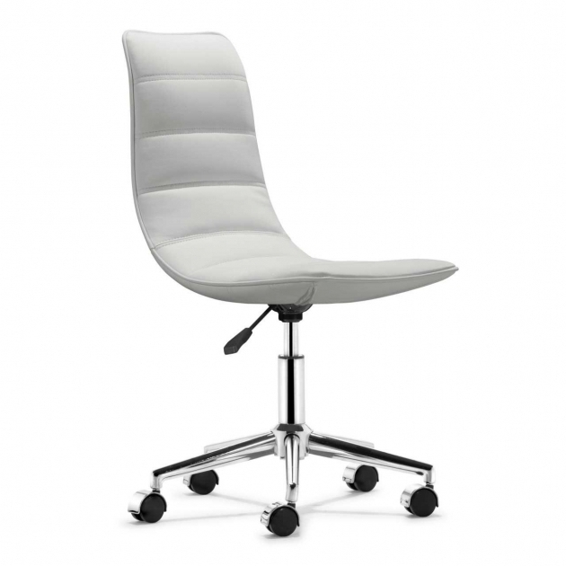 White Armless Office Chair Computer With Wheels  Photos 35