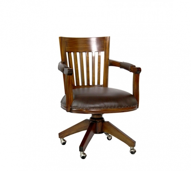 Wooden Swivel Desk Chair With Arms  Photo 16
