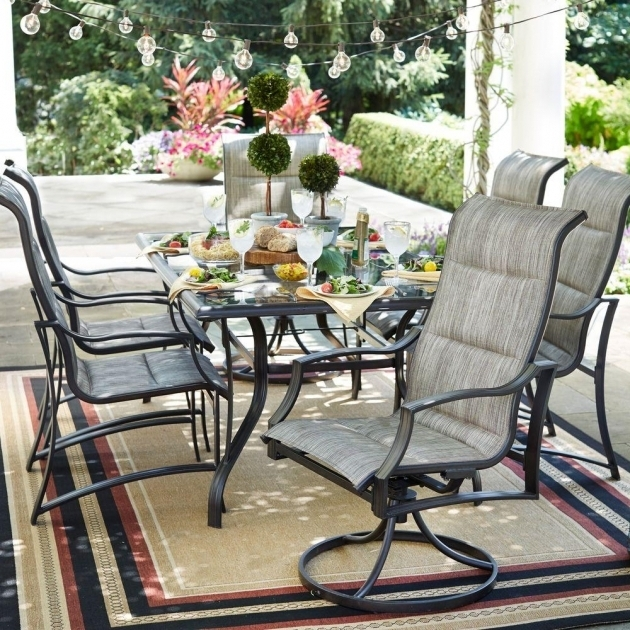 Awesome 7 Piece Patio Dining Set With Swivel Chairs Furniture Picture 35
