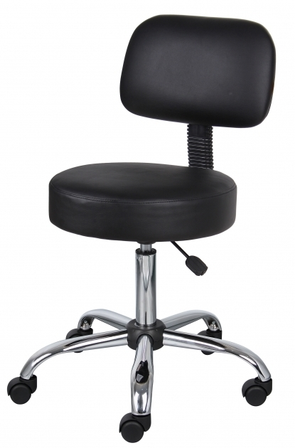Boss Small Office Chairs On Wheels Black Caressoft Medical Stool With Back Cushion Picture 86