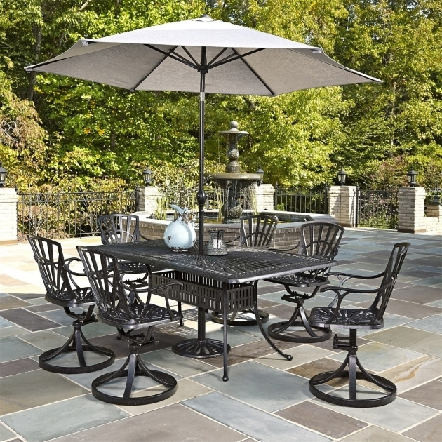 Classy Home Styles Largo Rectangular 7 Piece Patio Dining Set With Swivel Chairs Image 78