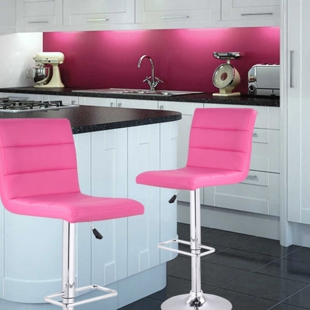 High Chair For Kitchen Counter Pink Faux Leather Adjustable Design Picture 73