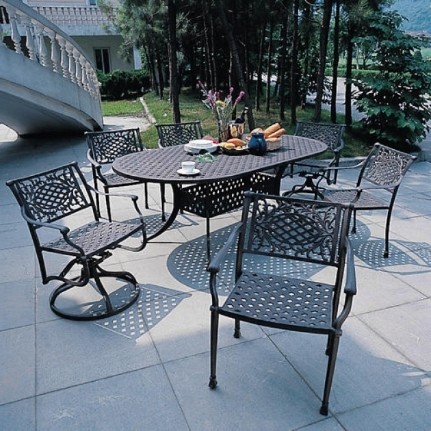 Incredible 7 Piece Patio Dining Set With Swivel Napoli Collection Cast Aluminum Outdoor Images 07