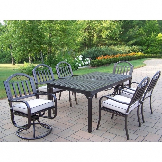 Inspiring 7 Piece Patio Dining Set With Swivel Chairs Oakland Living Tuscany Stone Art 54 In Photos 14