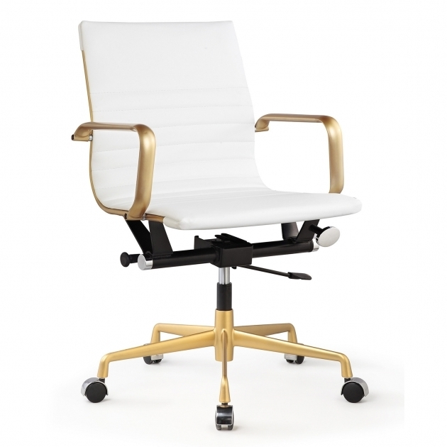 Rachel George Office Chairs Under $50 White Vegan Leather Gold Office Chair Photos 32