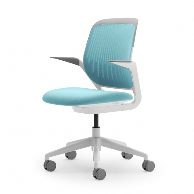 Aqua Cobi Desk Teal Office Chair With White Frame Modern Office Furniture Photo 04