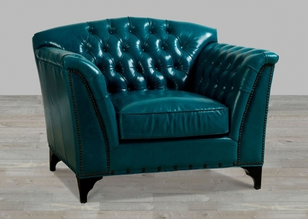 Dark Turquoise Top Grain Blue Leather Club Chair Photo 96