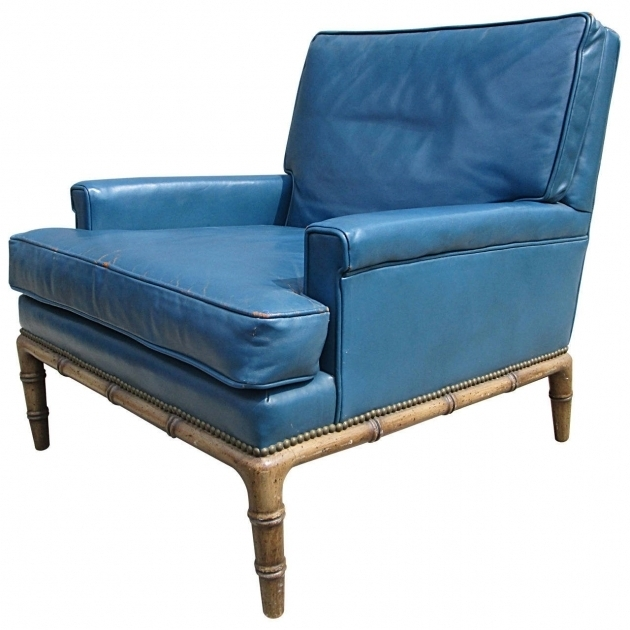 Erwin Lambeth Blue Leather Club Chair For Sale Photos 14