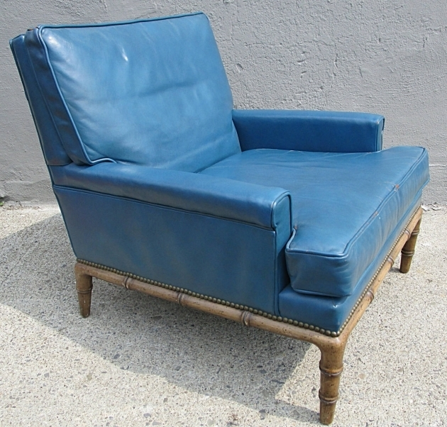 Light Blue Leather Club Chair For Sale Erwin Lambeth Picture 12