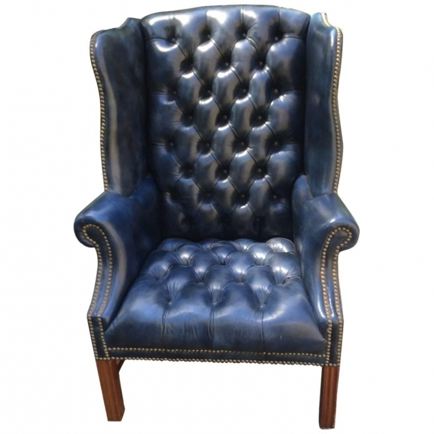 Navy Blue Leather Club Chair Tufted Wing Chair For Sale Image 57