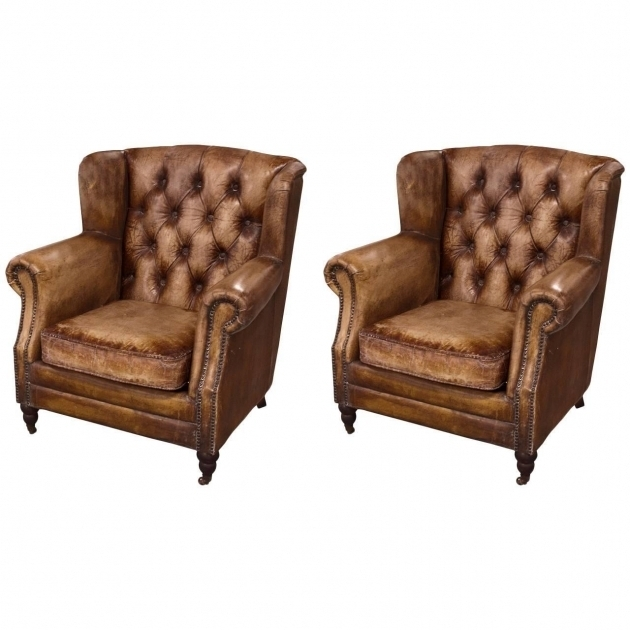 Pair Of English Library Distressed Leather Club Chair For Sale Images 50