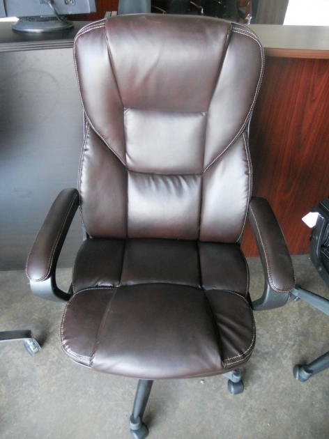 Realspace Fosner High Back Bonded Leather Chair Brown Pictures 51