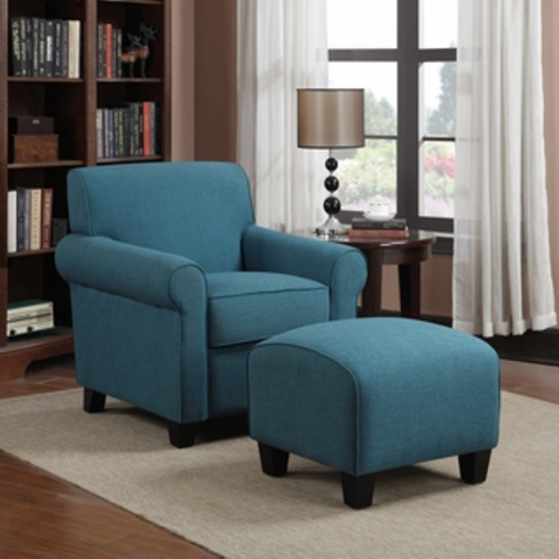 Blue Accent Chair With Arms Decorating Ideas With Ottoman And Round Brown Wooden Photo 03