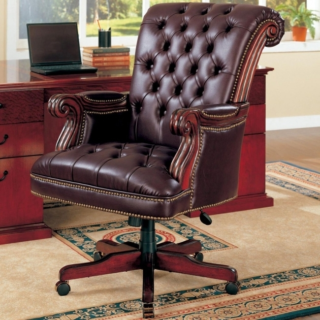 Brown Leather Tufted Office Furniture Chairs With Armrest For Home Furniture Ideas Photos 83