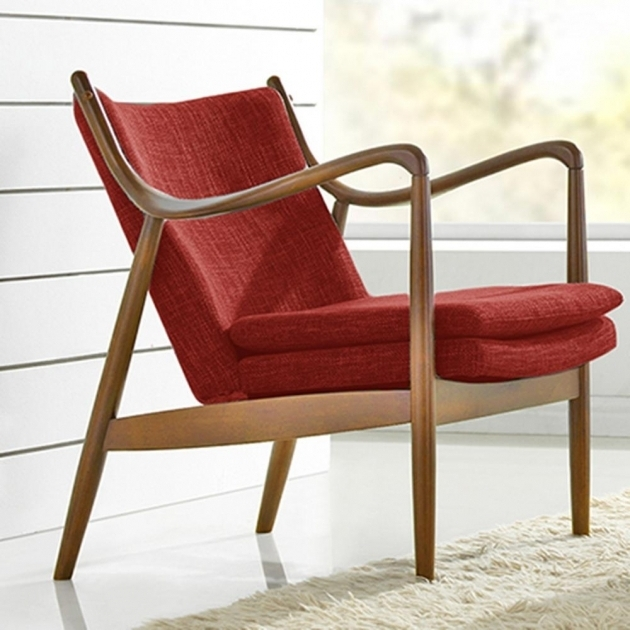 Red Narrow Accent Chair Living Room Furniture Picture sho89