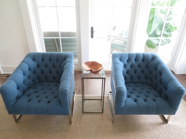 Royal Tufted Light Blue Accent Chair With Arms Living Room Stylish Furniture With High Slope Square Arms Image 08