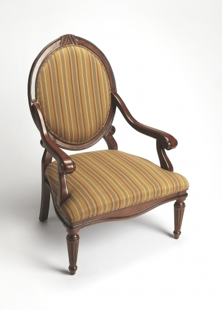 Small Accent Chairs With Arms Brown Wooden Chair Using Round Back Having Brown Striped Upholstered Picture 40