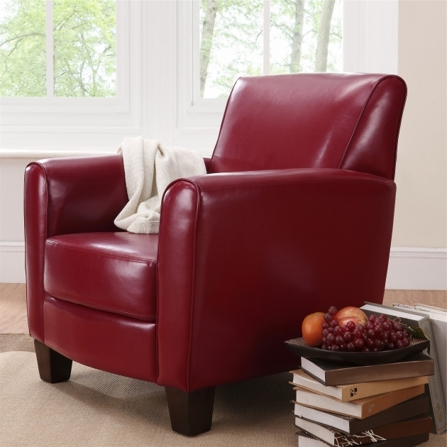 Small Leather Club Chair In Red On Beige Carpet Photo 48