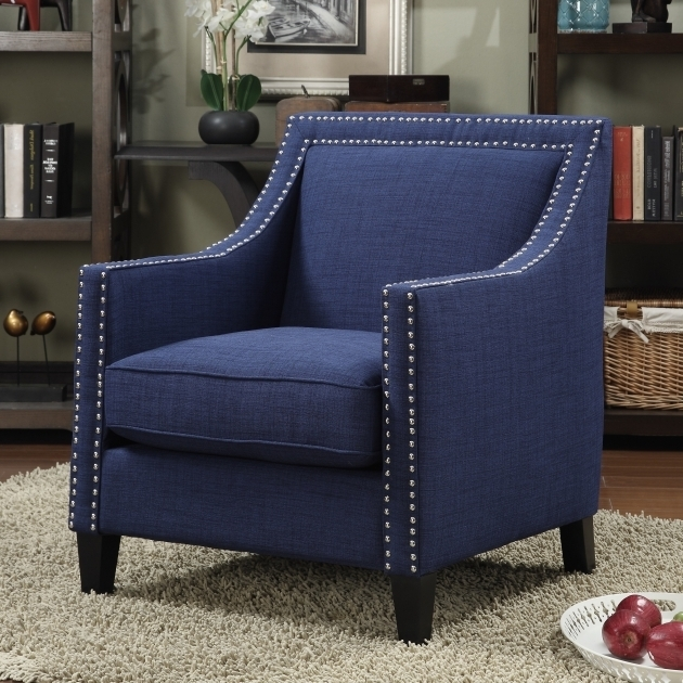 Small Upholstered Blue Accent Chair With Arms Bedroom Or Living Room Chairs Photo 82