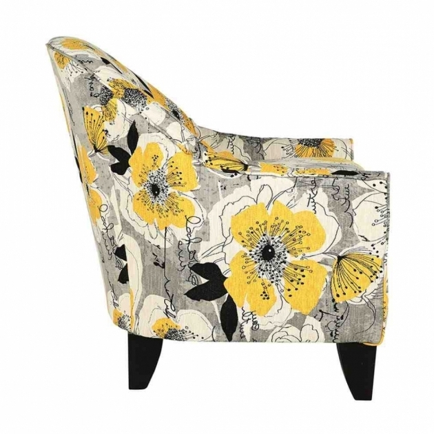 Beautiful Yellow And Grey Accent Chair With Flower Pattern Images 14